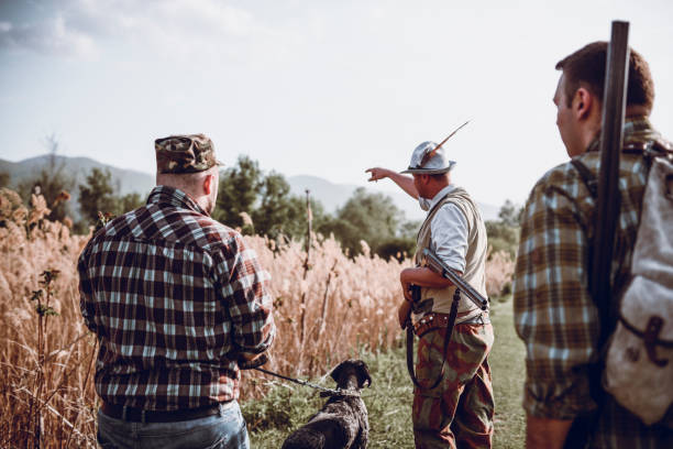 Group of Hunters with Their Dogs Going for Hunting Action Group of Hunters with Their Dogs Going for Hunting Action Illegal hunting stock pictures, royalty-free photos & images