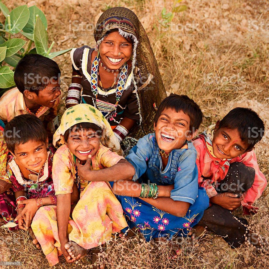 Group of Indian children, desert village, India royalty-free stock photo