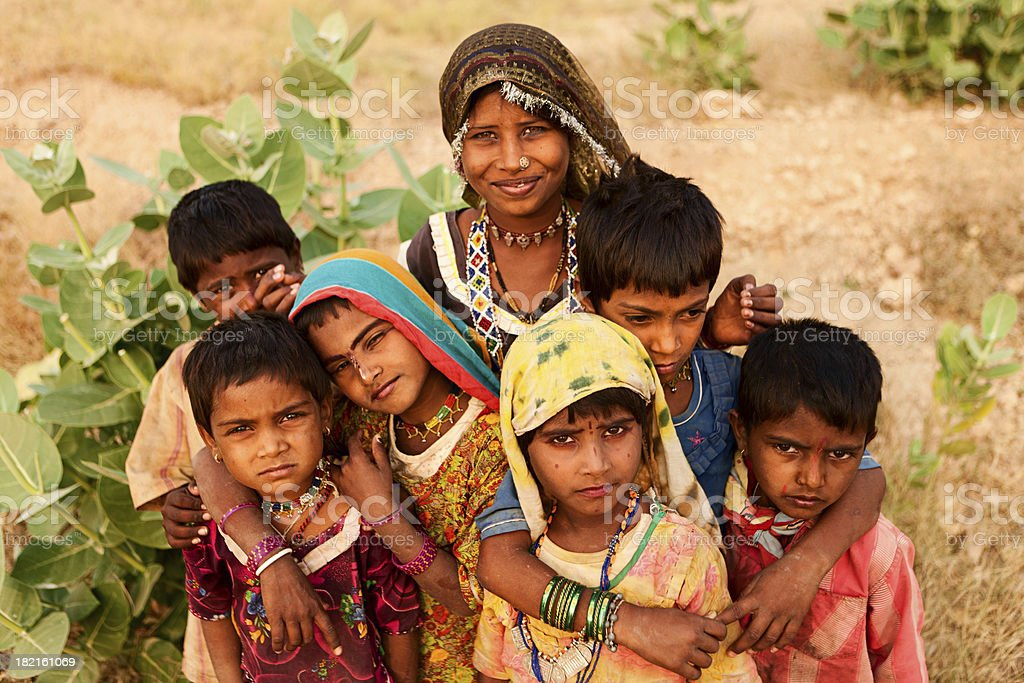 Group of Indian children, desert village, India stock photo