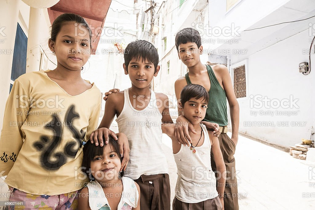 Group of indian children in Udaipur city stock photo