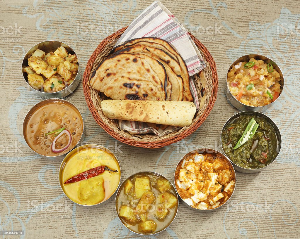 Group of Indian Food or North Indian Thali stock photo