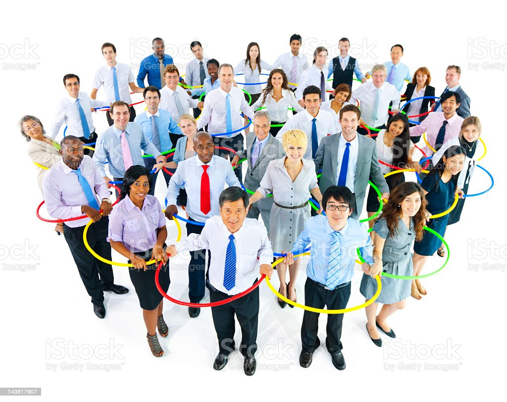 Group of International Business people connecting with each other royalty-free stock photo