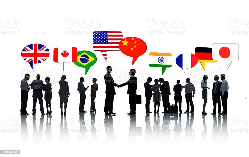 Group Of International Business People Talking To Each Other In stock photo