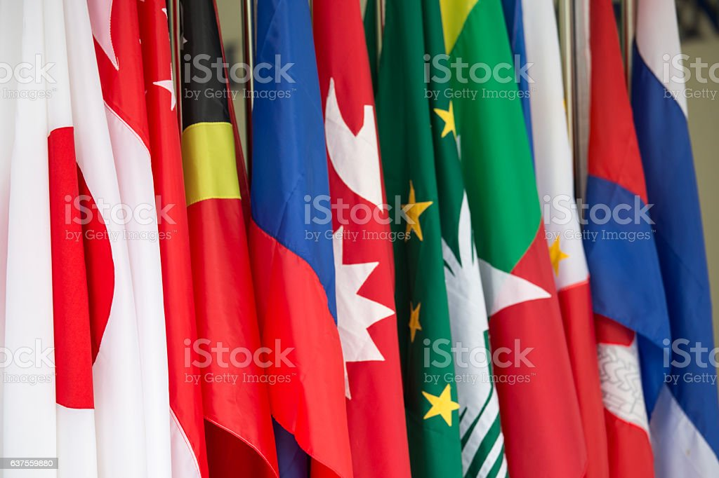 group of international flags stock photo