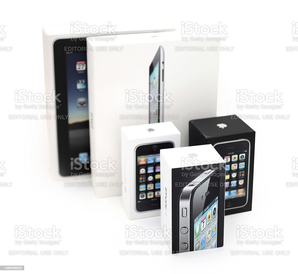 Group of iPhones and iPads royalty-free stock photo