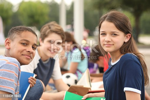 476098743 istock photo Group of junior high school children, teenage friends studying on campus. 1154081643