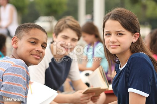 476098743 istock photo Group of junior high school children, teenage friends studying on campus. 1166879465