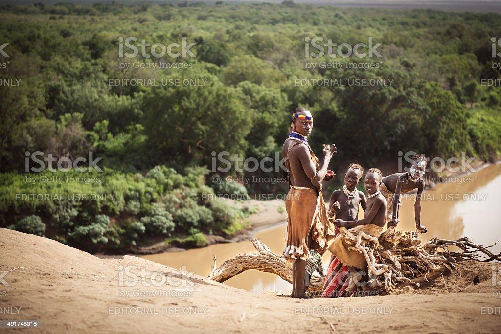 Group of Karo near the river of the Omo stock photo