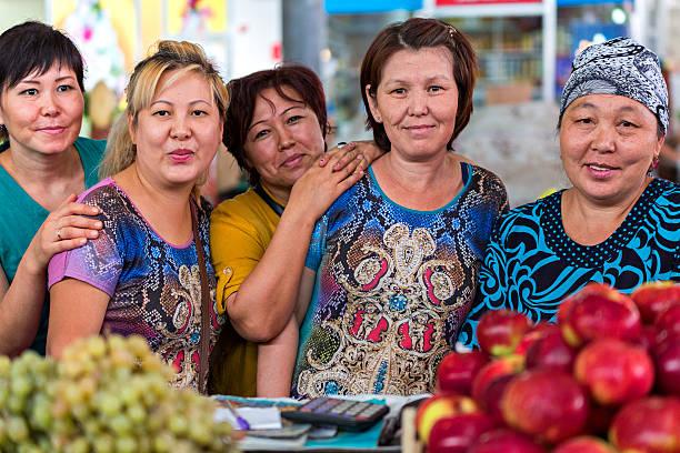 Group of Kazakh Women. stock photo