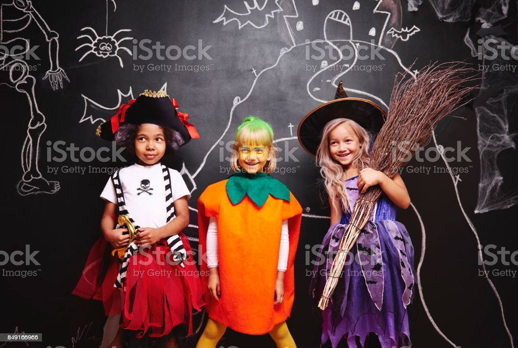 Group of kids at halloween stock photo
