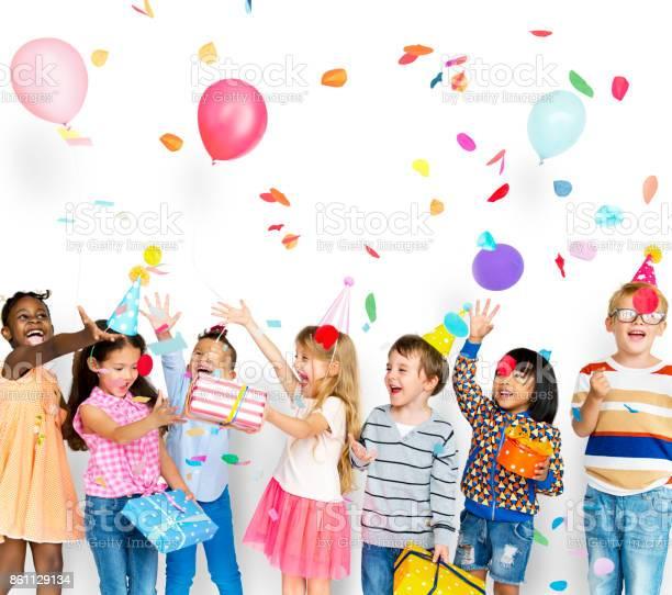 Group of kids celebrate birthday party together picture id861129134?b=1&k=6&m=861129134&s=612x612&h=vkx4us8ddhqbrrokvophwiwrmkh5wqgnekt44elrmri=