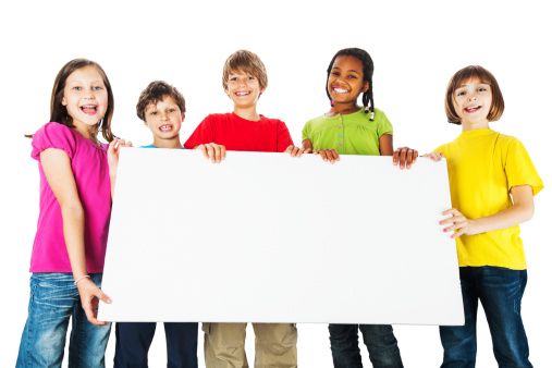 istock Group of kids holding a big white board. 175441044