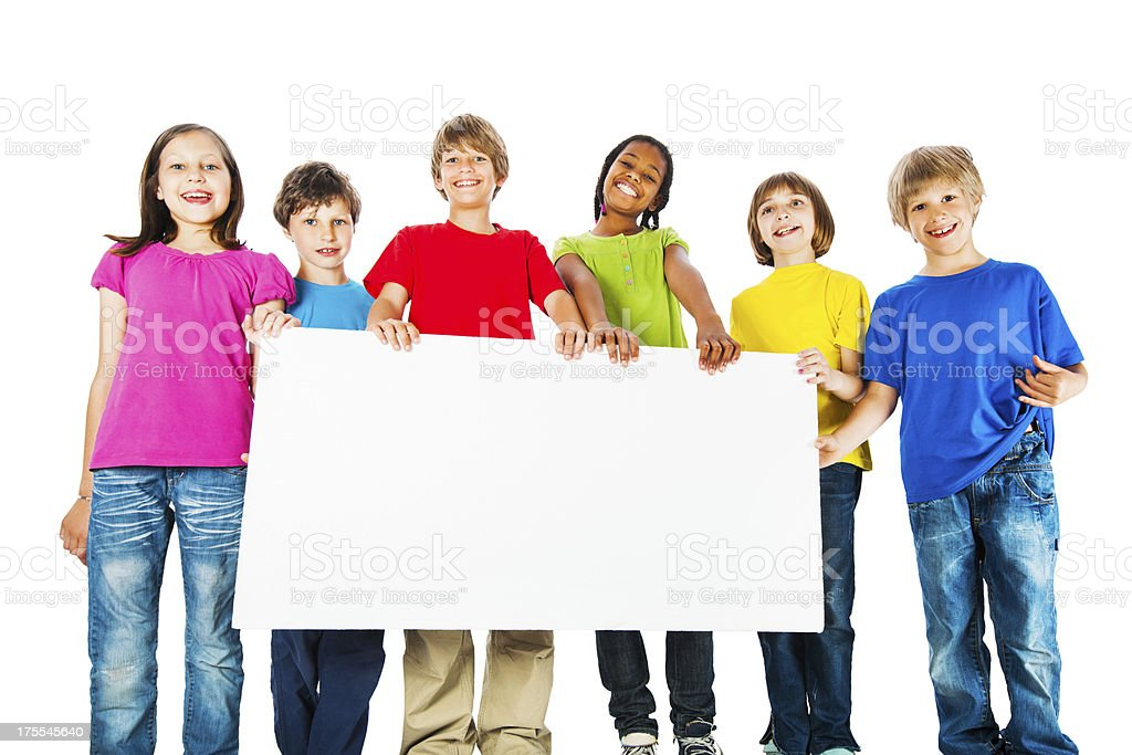 Group of kids holding a big white board. royalty-free stock photo