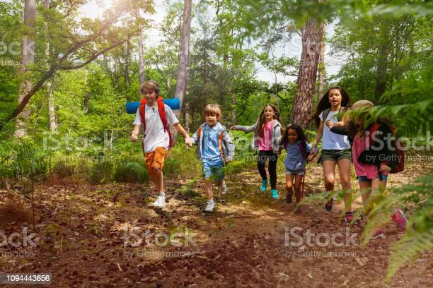 Photo of Group of kids on hiking walk holding hands