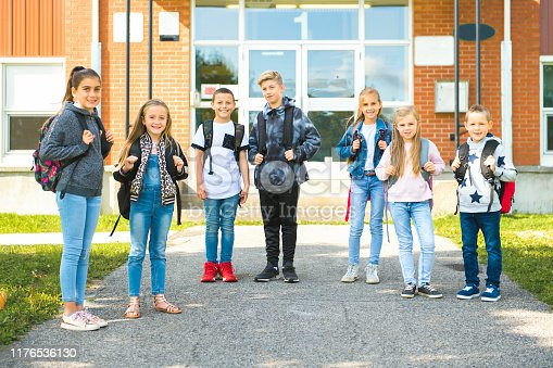 1045032684 istock photo group of kids on the school background having fun 1176536130