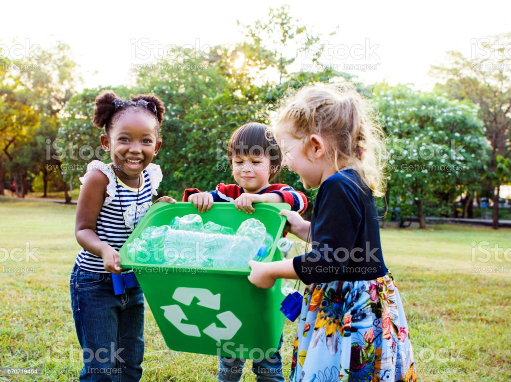 Group of kids school volunteer charity environment stock photo