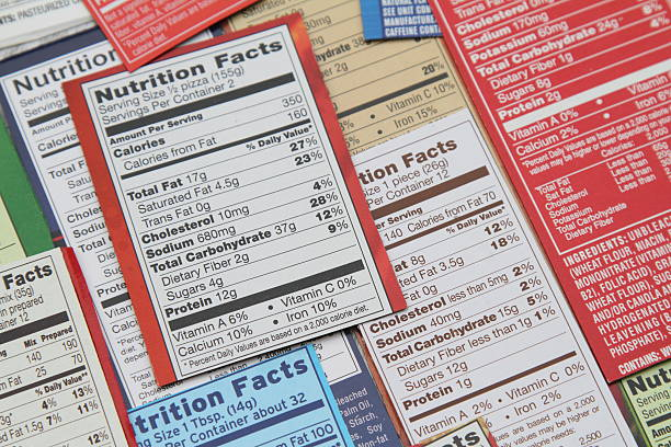 Group of labels showing nutrition facts. stock photo