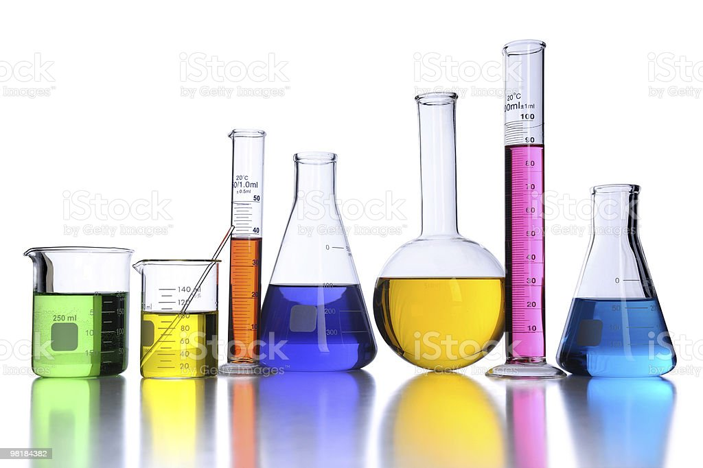 Group of laboratory glassware with colored fluids royalty-free stock photo