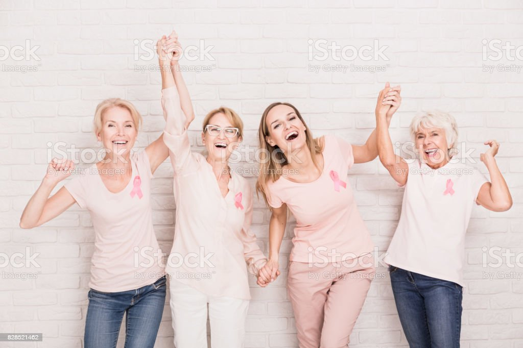 Group of ladies cheering