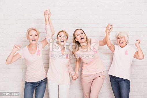 istock Group of ladies cheering 828521462
