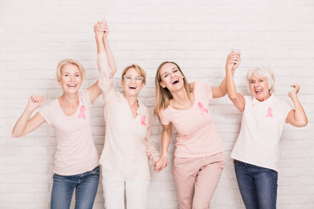 Group of ladies cheering stock photo