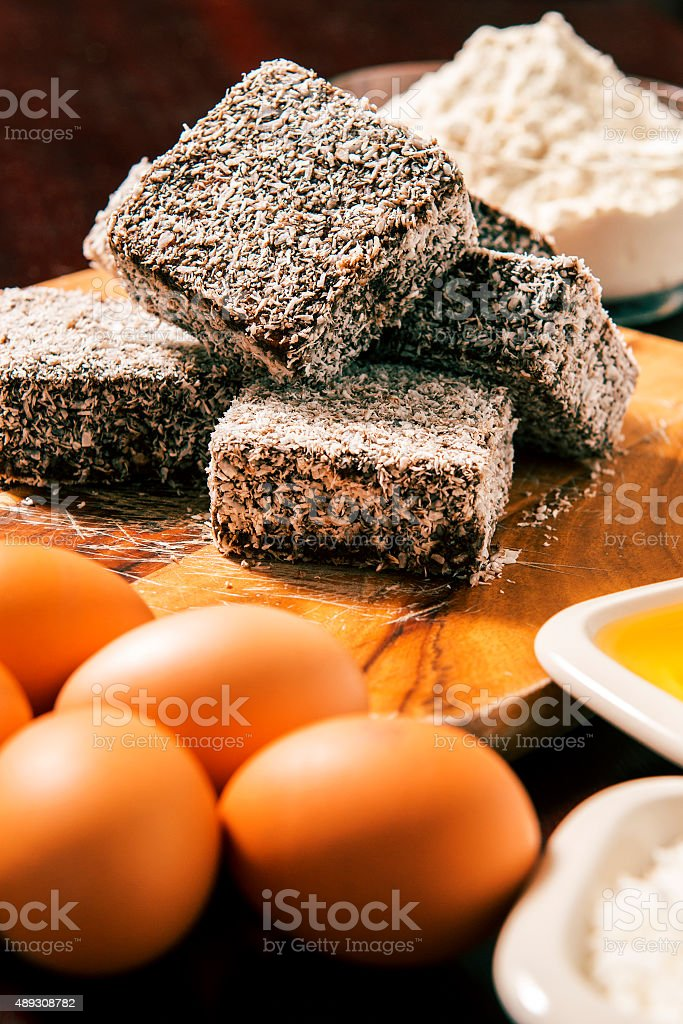 Group of Lamingtons stock photo