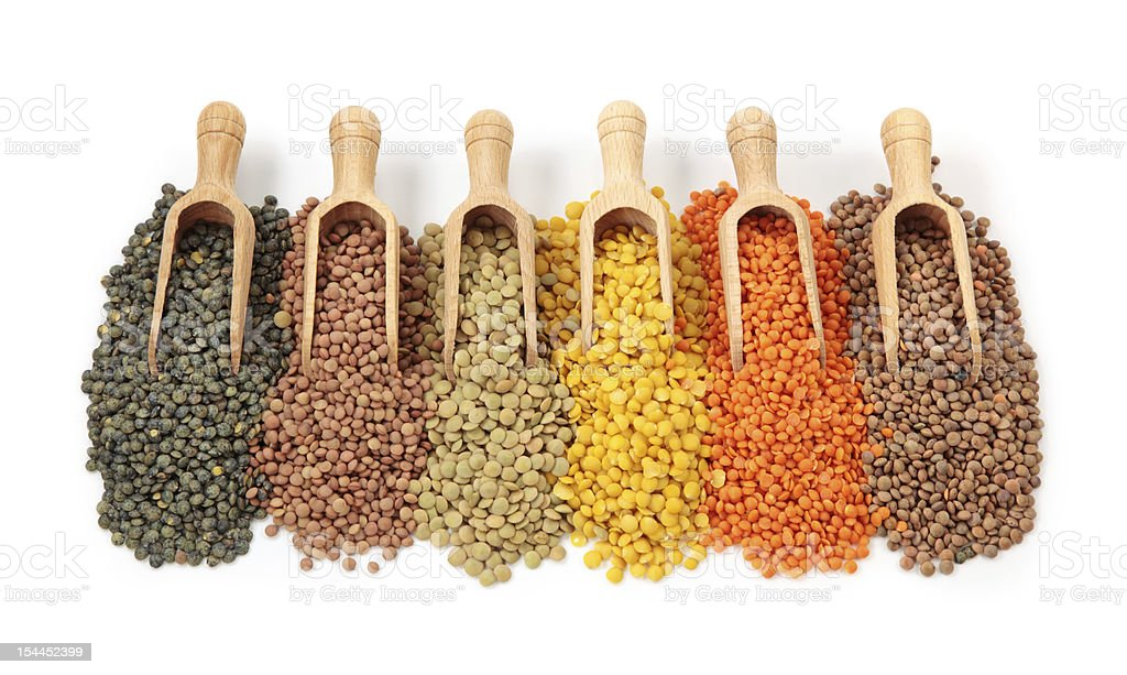 Group of lentils stock photo