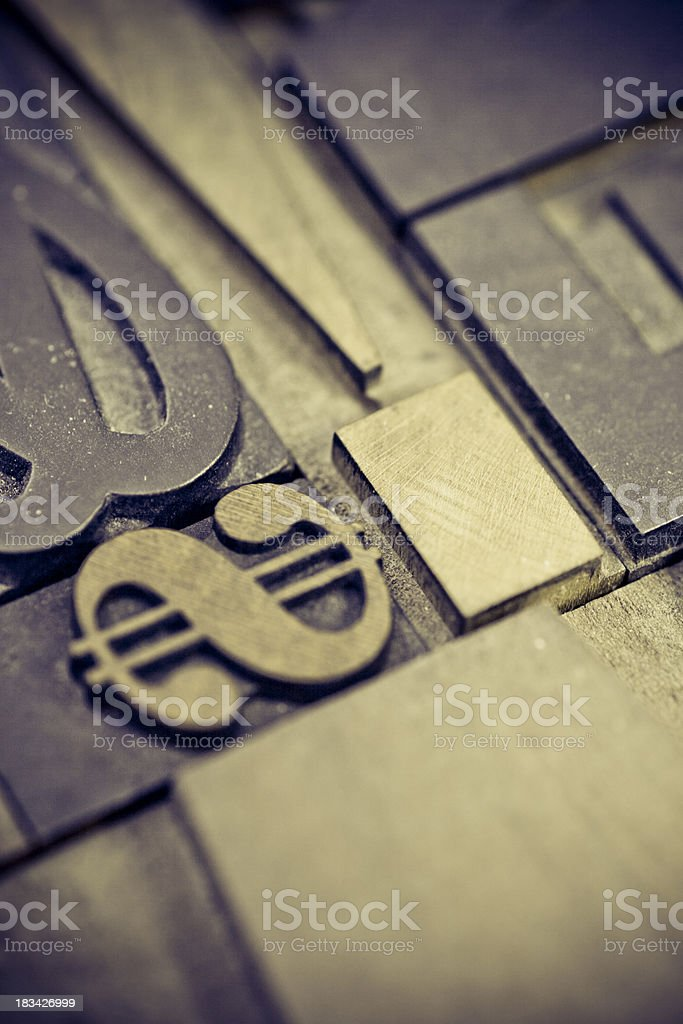 Group of letterpress letters royalty-free stock photo