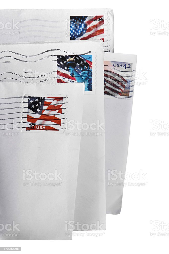 Group of Letters With USA Flag Stamps stock photo