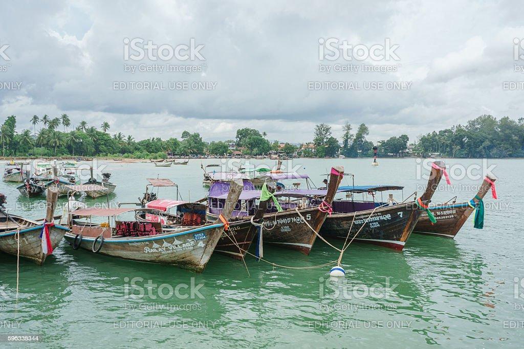 Group of long tail boats anchored at Ao Nammao royalty-free stock photo