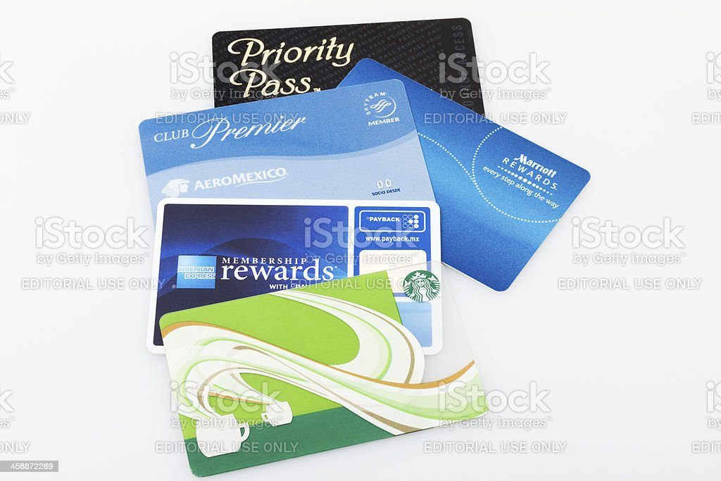 Group of loyalty cards stock photo