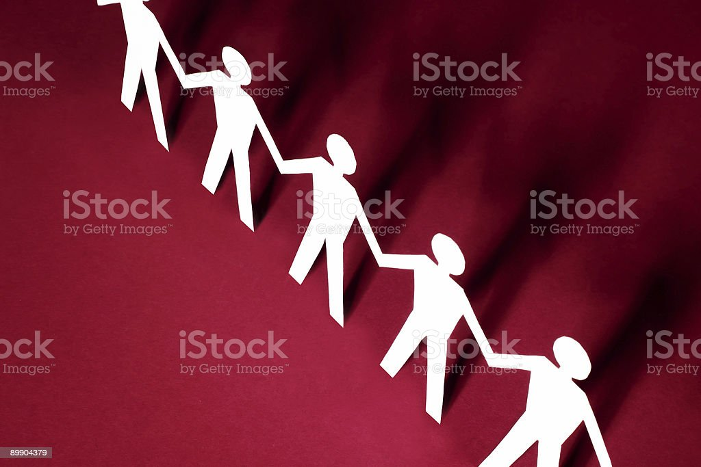 Group of male paper chain royalty-free stock photo