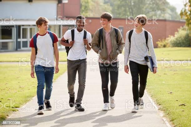 Group of male teenage students walking around college campus picture id887302088?b=1&k=6&m=887302088&s=612x612&h=yeg mbc9kzjp1h2adhziiok5izrqswn3fzucelt5suu=