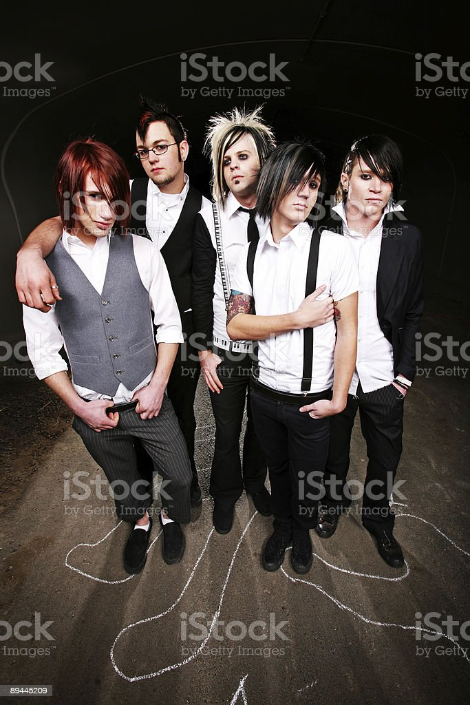 Group Of Males Outside at Night royalty-free stock photo