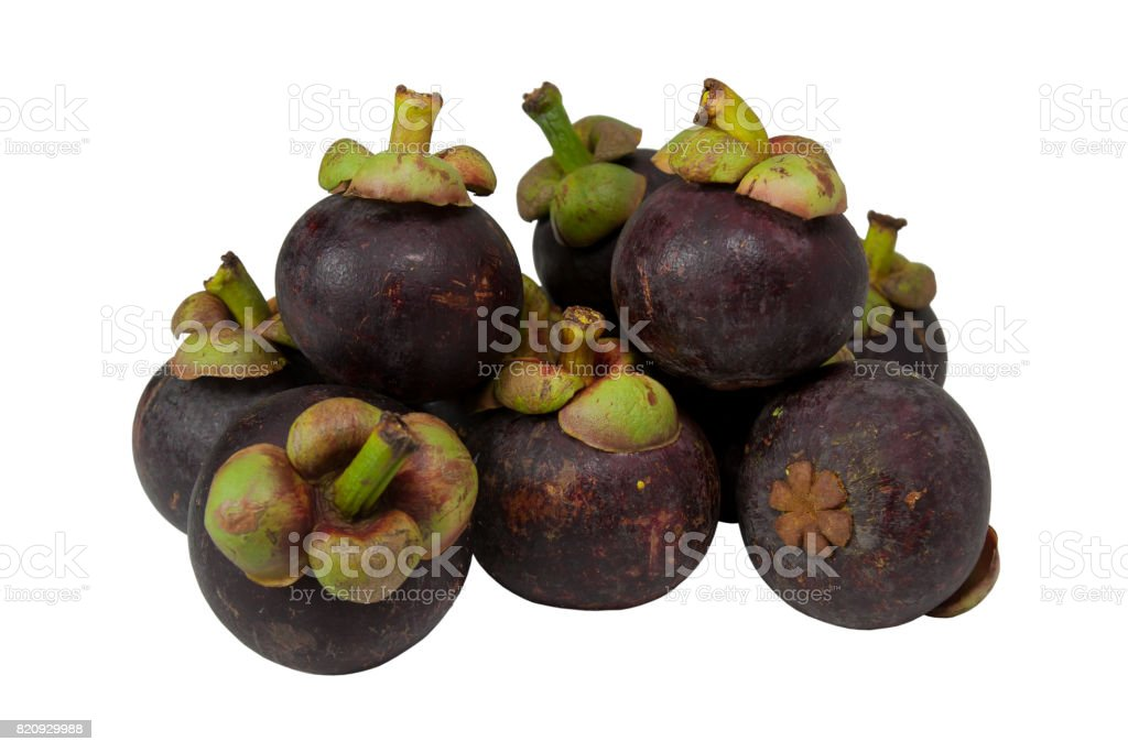 Group of mangosteen fruit. stock photo
