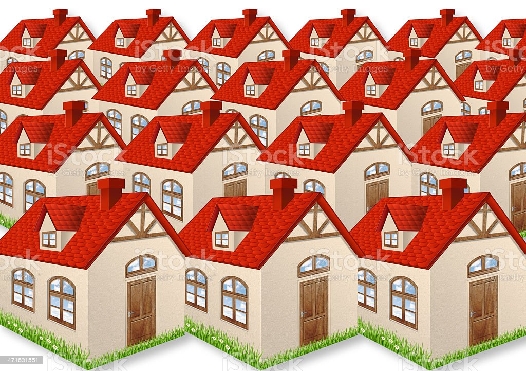 Group of many houses stock photo