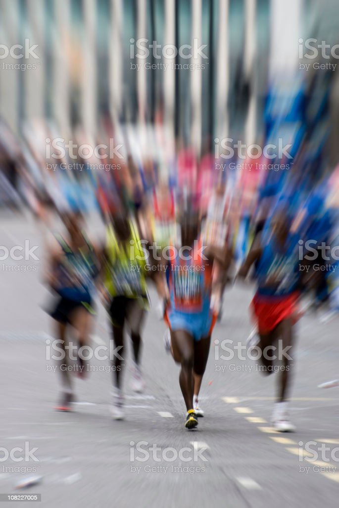 Group of Marathon Runners on Road, Motion Blur stock photo