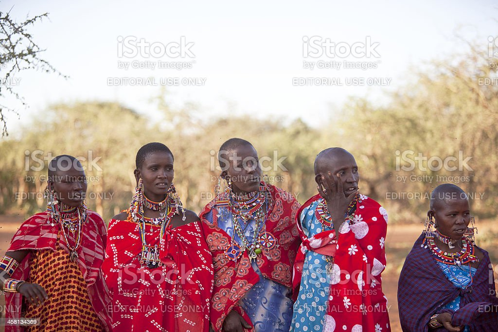 Group of Masai women in traditional dress. royalty-free stock photo