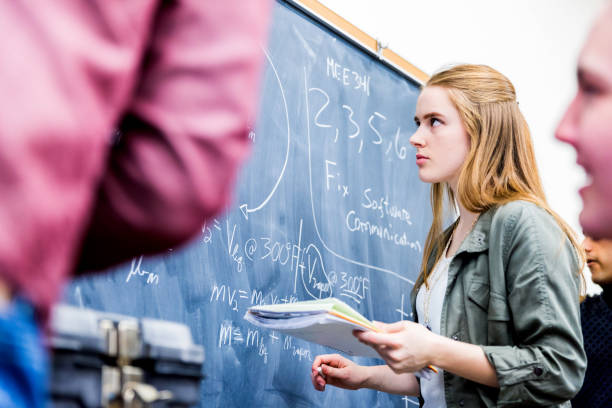 Group of Mathematics Students at their Class room stock photo