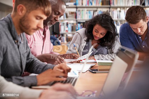 877026364 istock photo Group Of Mature College Students Working On Project In Library 875669214