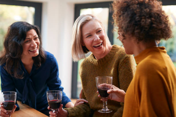 Group Of Mature Female Friends Meeting At Home To Talk And Drink Wine Together stock photo