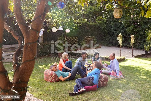 643325030 istock photo Group Of Mature Friends Enjoying Drinks In Backyard Together 643324890