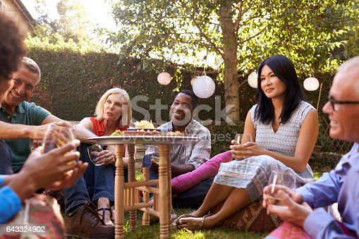 643325030 istock photo Group Of Mature Friends Enjoying Drinks In Backyard Together 643324902