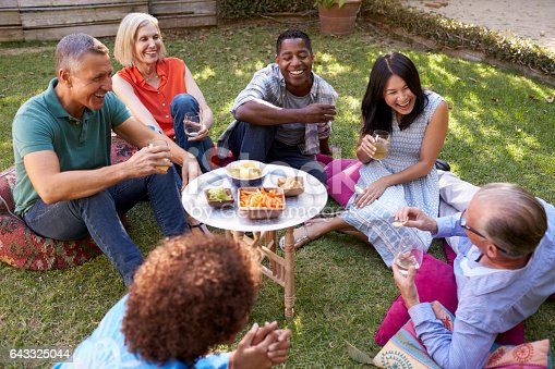 643325030 istock photo Group Of Mature Friends Enjoying Drinks In Backyard Together 643325044