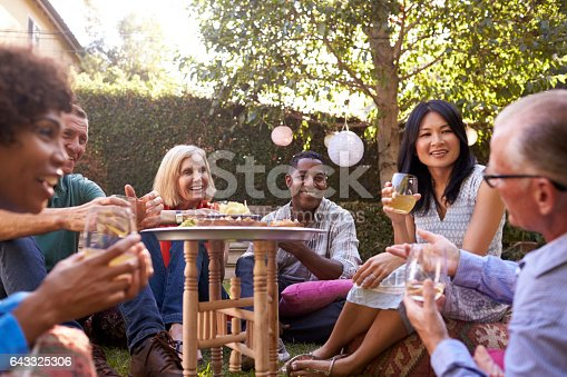 istock Group Of Mature Friends Enjoying Drinks In Backyard Together 643325306