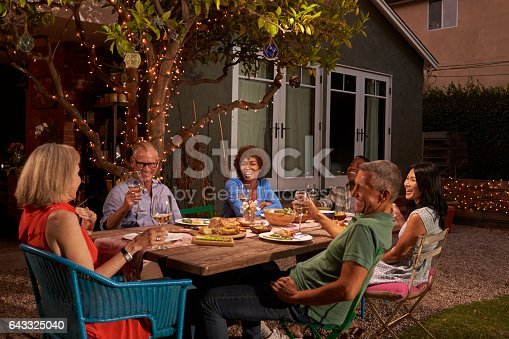 643325030 istock photo Group Of Mature Friends Enjoying Outdoor Meal In Backyard 643325040