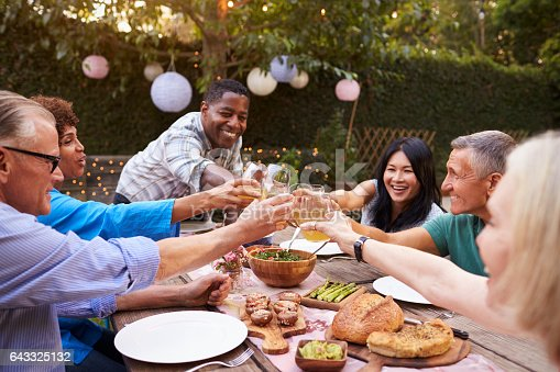 643325030 istock photo Group Of Mature Friends Enjoying Outdoor Meal In Backyard 643325132