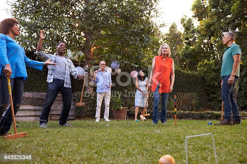 istock Group Of Mature Friends Playing Croquet In Backyard Together 643325348