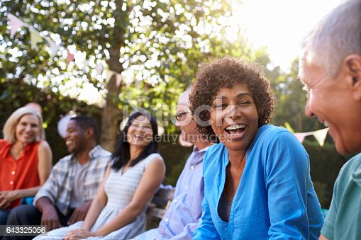 istock Group Of Mature Friends Socializing In Backyard Together 643325056