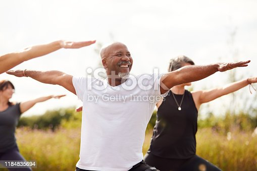 istock Group Of Mature Men And Women In Class At Outdoor Yoga Retreat 1184835694